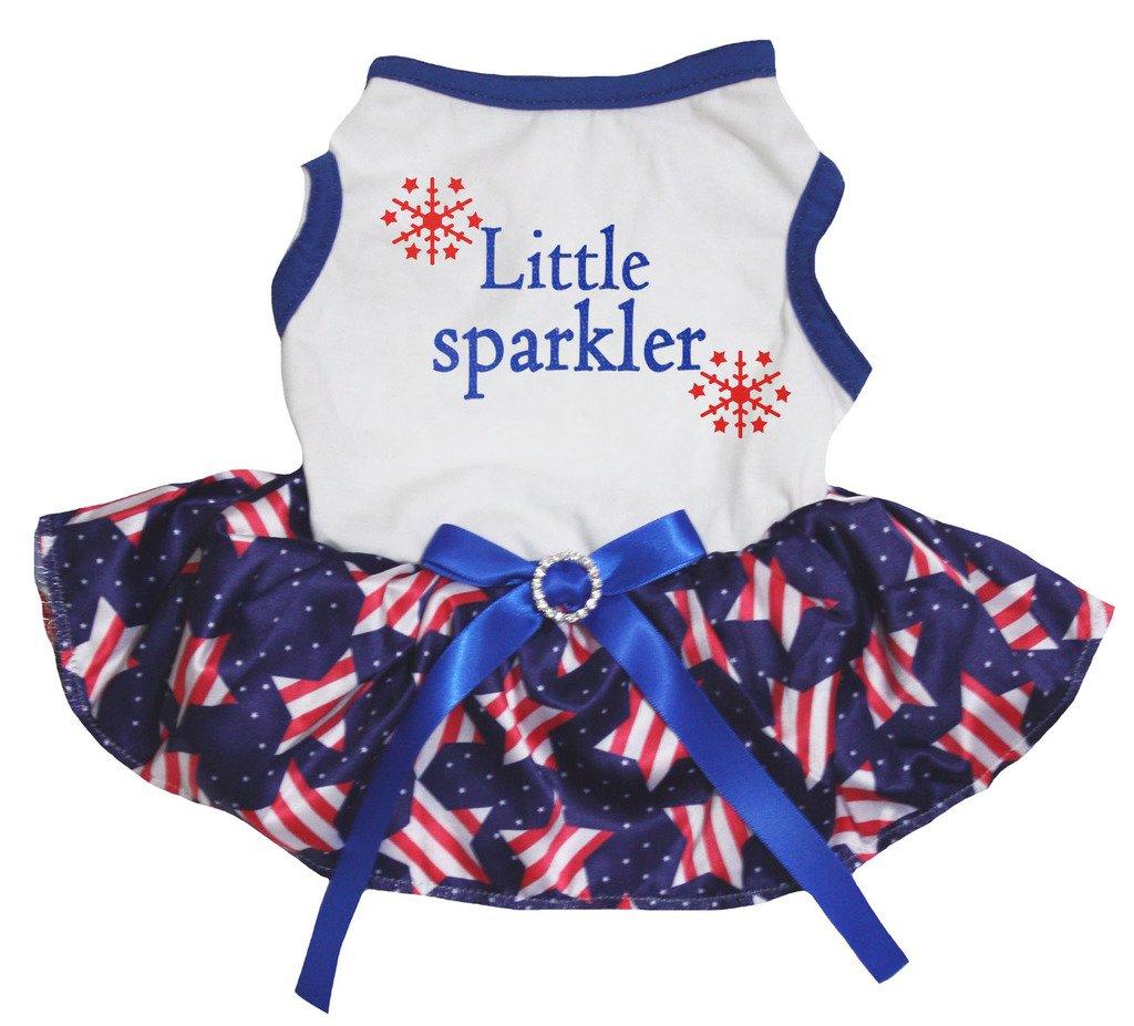 Petitebella Puppy Clothes Dress Little Sparkle Blue White Top Stripe Stars Tutu (Medium)