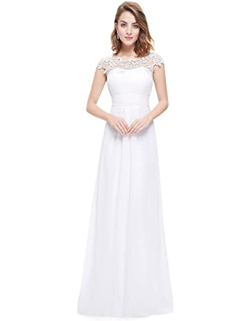 1e4cdd64e1 Ever-Pretty Womens Cap Sleeve Lace Neckline Ruched Bust Evening Gown 09993