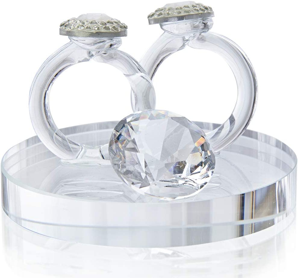 H&D HYALINE & DORA Clear Crystal Couple Ring Paperweight with Diamond Figurine Collection
