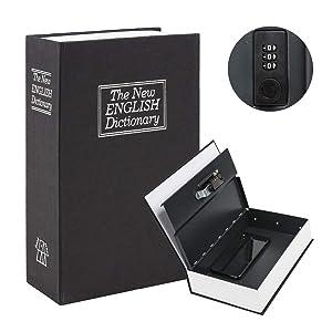 "Kyodoled Diversion Book Safe with Combination Lock, Safe Secret Hidden Metal Lock Box,Money Hiding Box,Collection Box,9.5"" x 6.2"" x 2 .2"" Black Large"