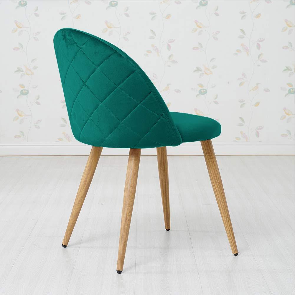 OFCASA Matstolar uppsättning med 2 & set med 4 sammet mjuk vadderad sits matstol vardagsrum hem möbler rosa/grå/grön Lila 4 Green Chairs