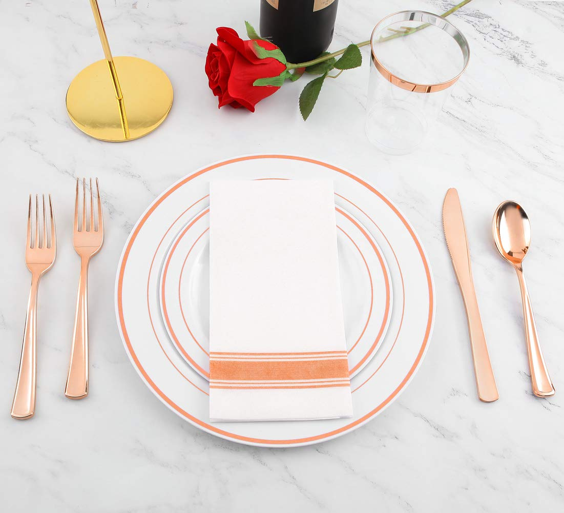 200 pieces Rose Gold Plastic Plates,Rose Gold Silverware, Rose Gold Cups, Linen Like Paper Napkins, Rose Gold Disposable Flatware, Enjoylife (Rose Gold, 200) by enjoylife (Image #4)