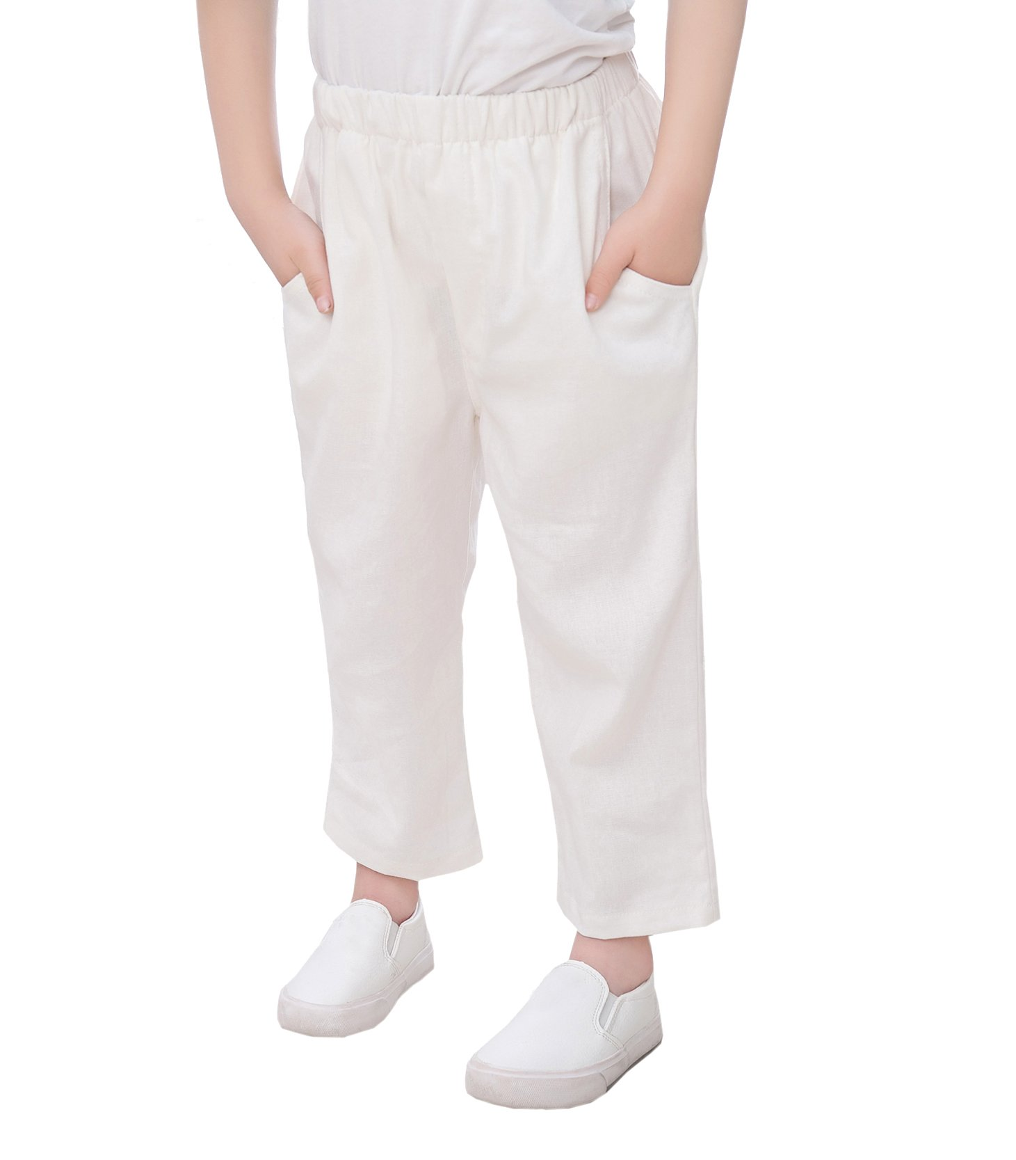 XueXian(TM) Little Boys Summer Spring Cotton Linen Solid Pant 3-9 Years(5-6 Years,White)