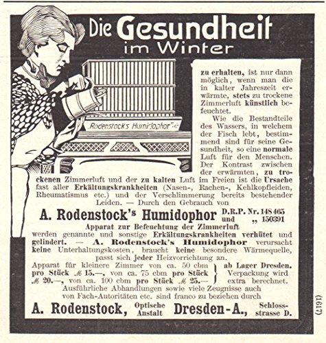 1905 Print Ad Humidophor Humidifier A. Rodenstock Optiker Dresden (Big Optiker)