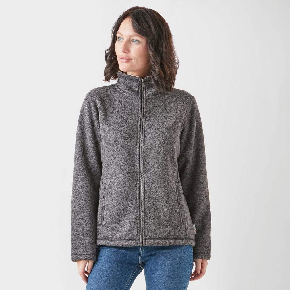 PETER STORM Womens Knit Look Bonded Fleece Dark Grey