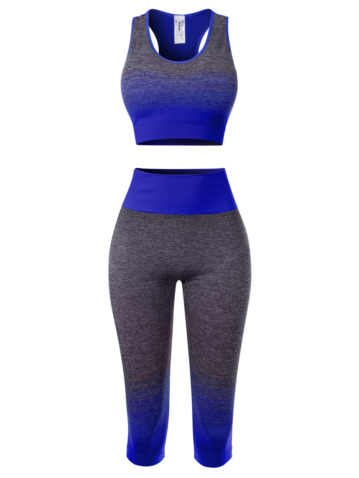 MixMatchy Women's Two-Piece Sports Bra + Capri Leggings Gym Yoga Wear Set Royal ONE by MixMatchy