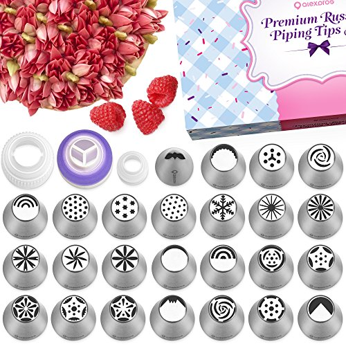Russian Piping Tips Set - 50 Cake Decorating Supplies - Cake Decorating Kit - Baking Supplies Set - 25 Icing Tips - Cake Decorating Tips - Decoration Kit - Icing - Cake Set Decorating Tube