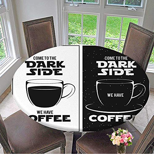 Mikihome Picnic Circle Table Cloths Dark Side of Coffee Print Chalkboard Vintage Creative Trendy Design Element for Family Dinners or Gatherings 59