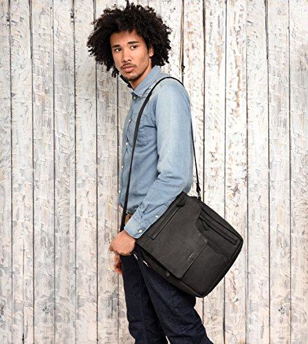 Marron Amsterdam Leabags vintage Buffle Sac De Cuir Noir Bandoulière Véritable En Rétro Oxw6dq7vw