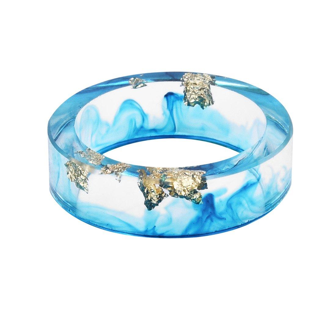 DALARAN Resin Ring with Gold Foil Inside Handmade Colorful Ink Transparent Women Charm Rings DWJLR2493-99