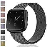 Maledan Metal Bands Replacement Compatible with Fitbit Versa, Stainless Steel Milanese Accessories Bracelet Strap Band with Magnet Lock for Women Men