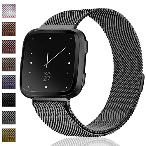 Wrist Original Strap (Maledan Metal Bands Replacement Compatible with Fitbit Versa, Stainless Steel Milanese Accessories Bracelet Strap Band with Magnet Lock for Women Men, Black, Small)