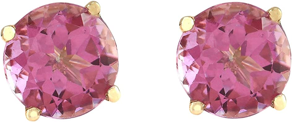 3.00 Ct Oval Pink Tourmaline 14K Yellow Gold Earrings