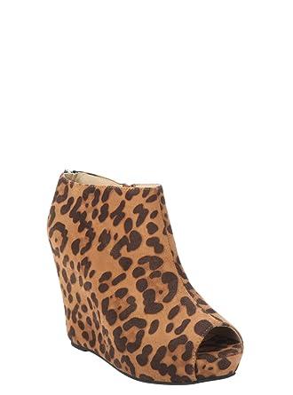 4b949ce3c4ac Amazon.com  Torrid Leopard Wedge Peep Toe Booties (Wide Width)  Clothing