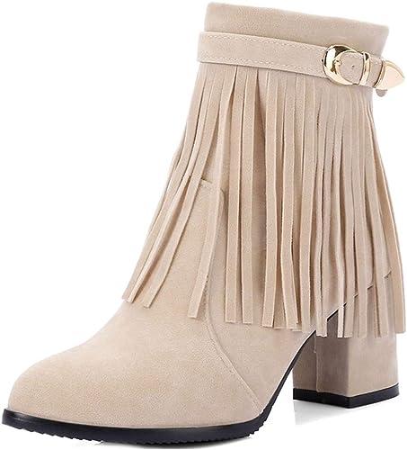 Amazon.com: MIOKE - Botines cortos con flecos para mujer: Shoes