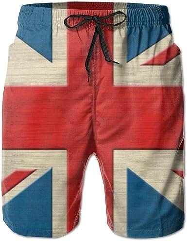Shadidi Mens Summer Retro British Flag Quick-Dry Running Swim Trunks Boader Shorts Beach Swimsuit Sports