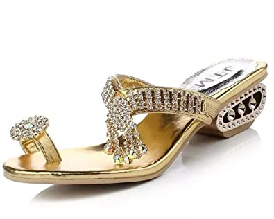 Women's Trendy Low Block Heel Open Toe Slide Sandals With Rhinestones