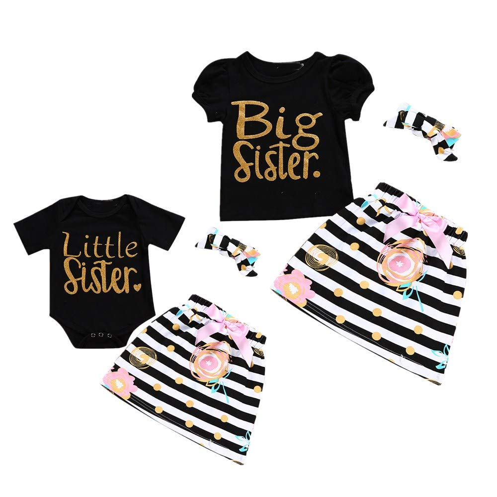 fcef6e458c048 Little Big Sister Matching Romper T-Shirt Polka Dot Skirt Headband Outfits  Set