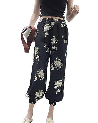 Eté Elégante Mode Femme Pantalons De Plage Taille Élastique Fleur Motif Poches  Avant Taille Haute Bouffant fb789a34ad24