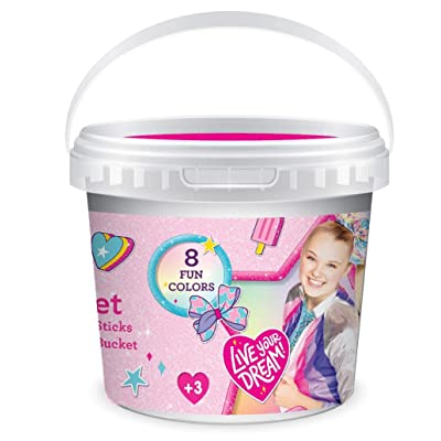 JoJo Siwa Outdoor Sidewalk Chalk Set for Kids with Stencils, Bucket and Decals: Office Products