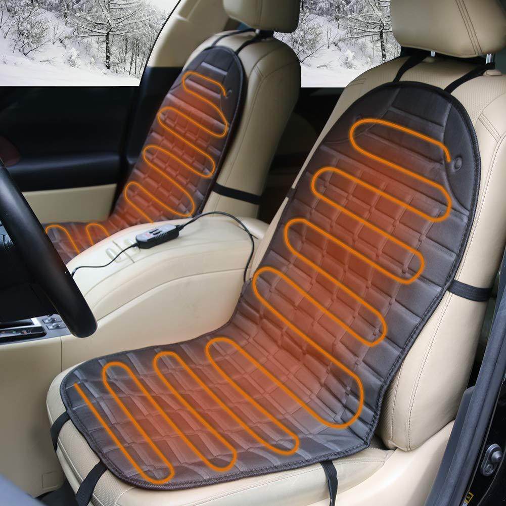 HQKJ Coprisedili Riscaldati, Cuscini Termici per Sedili Anteriori Auto Riscaldatore con Regolatore di Alta/Bassa Temperatura per Veicoli, 1 Paio, Spina per Accendisigari da 12 Volt