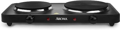 Aroma AHP312 Mesa Hornillo eléctrico / - Placa (Mesa, Hornillo eléctrico/Placa eléctrica, esmalte de acero, Negro, Giratorio)