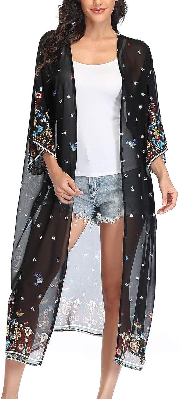 Women Long Sleeve Chiffon Floral Maxi Duster Sheer Cardigan Kimono Open Loose