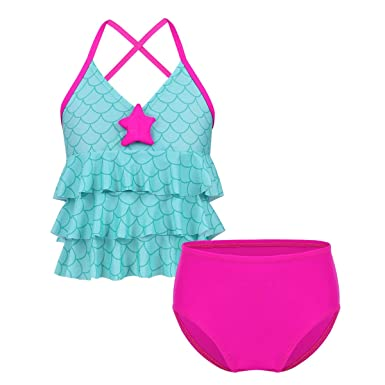 a11015f5a iEFiEL Kids Girls  Mermaid Scales V-Neck Two-Pieces Tankini Camisole Tops  with