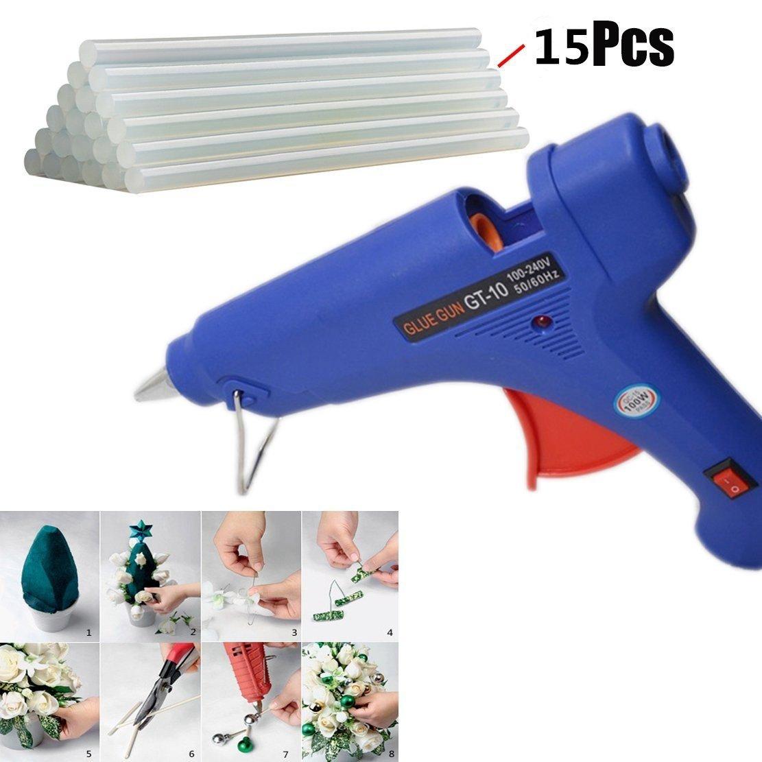 Hot Glue Gun, 100 Watt Hot Melt Glue Gun with 15PCS Transparent Glue Gun Sticks for Arts & Crafts, & Sealing and Quick Repairs,Blue