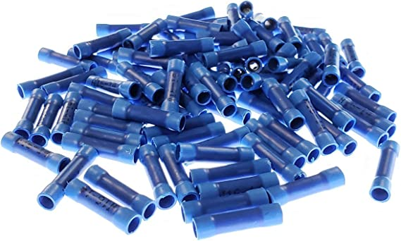Blue, 16-14 AWG 100Pcs 16-14 Gauge Butt Electrical Insulated Quick Splice Crimp Terminal Connectors