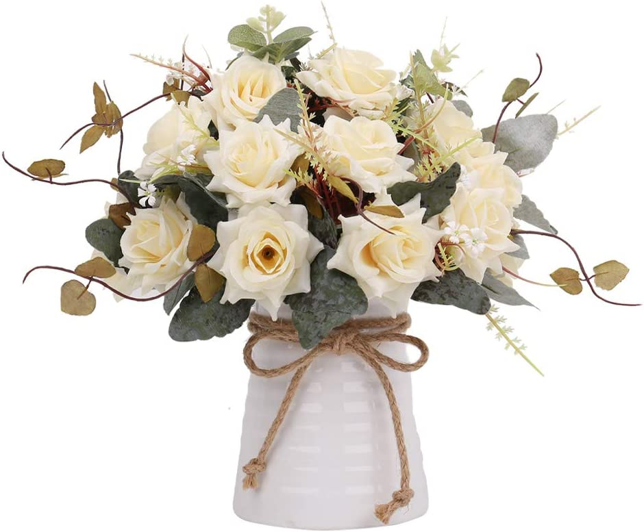Yiliyajia Artificial Flowers In Vase Silk Rose Flower Arrangements Fake Faux Flowers Bouquets With Ceramics Vase Table Centerpieces For Easter Holiday Dinning Room Table Kitchen Decoration Champagne Home Kitchen