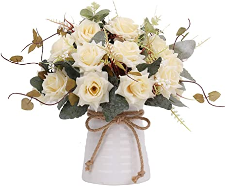 Decoration Table Decoration Fensterdeko Flower Arrangement Artificial Flowers Roses in Ceramic Basket Roses