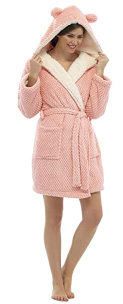 Foxbury Womens Waffle Sherpa Lined Bath Robe Dressing Gown (Hot Pink) L
