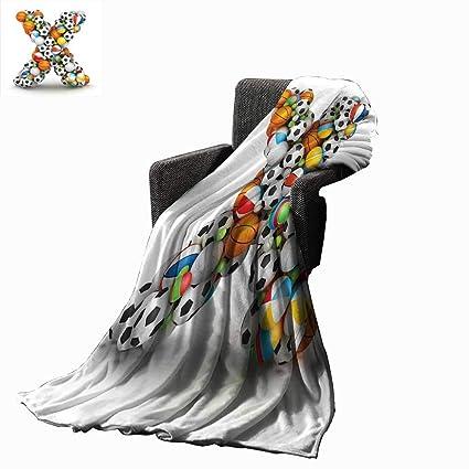Amazon.com: Luckyee Letter X Digital Printing Blanket ...