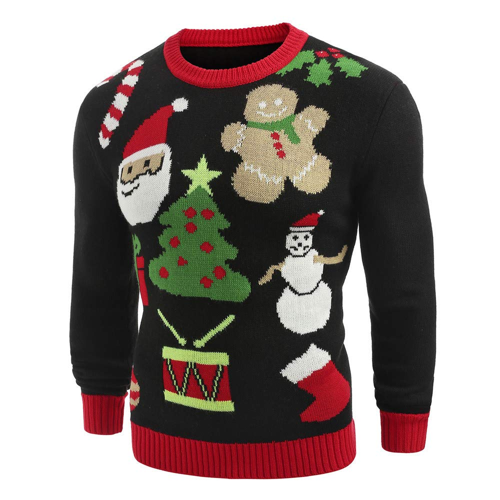 Women's Christmas Sweatshirt Santa Claus Snowman Printed Knitted Ugly Sweater Christmas Ugly Sweatshirt Blouse Tops by Hatop-