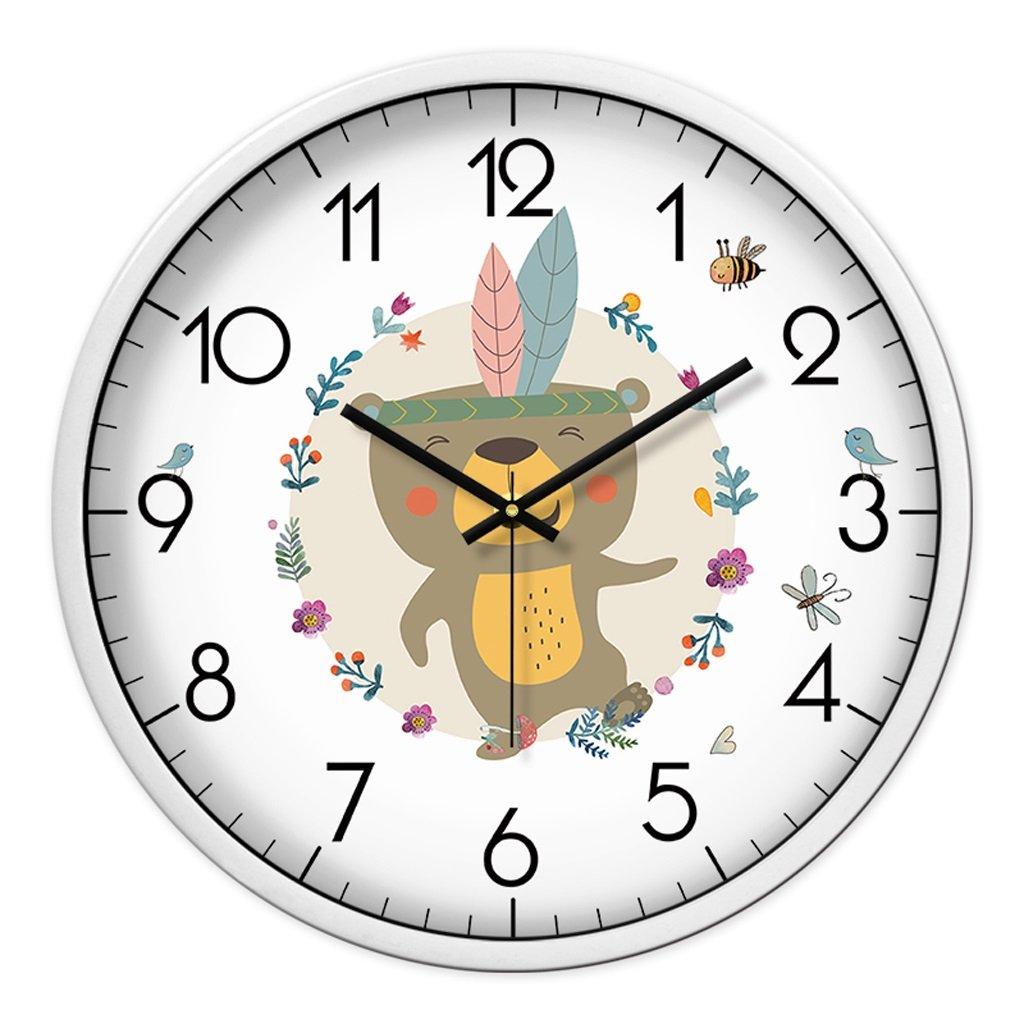 Unbekannt FANJIANI Cartoon Mute Wanduhr Persönlichkeit Nette Uhr Kinderzimmer Stumm Wanduhr Kreative Wohnzimmer Quarzuhr Uhr Hängende Tabelle (Farbe : Weiß, größe : 12 Zoll)