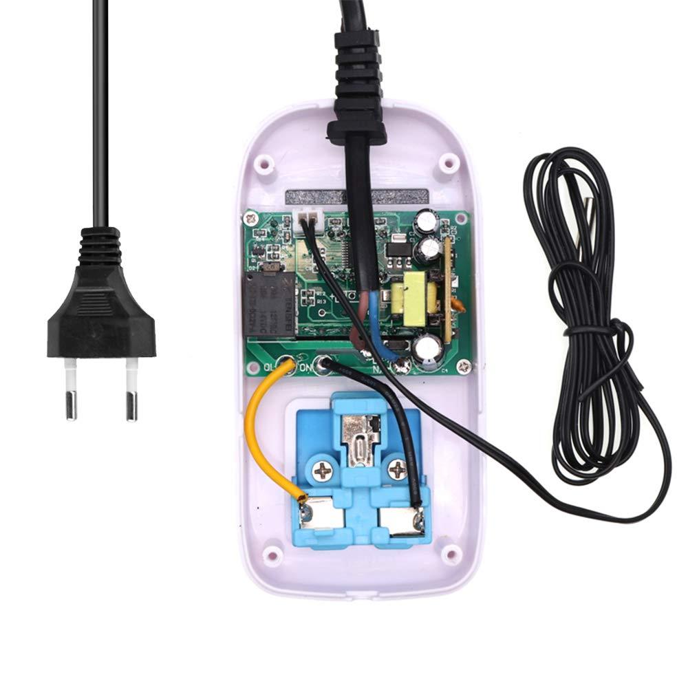 Leepesx LED Thermometer Temperaturregler Digitaler Thermostatschalter Mit Sonde f/ür Reptilien Brauen S/ämling Aquarium Haustierzucht Inkubation 110-220 V 1500 Watt EU Standard