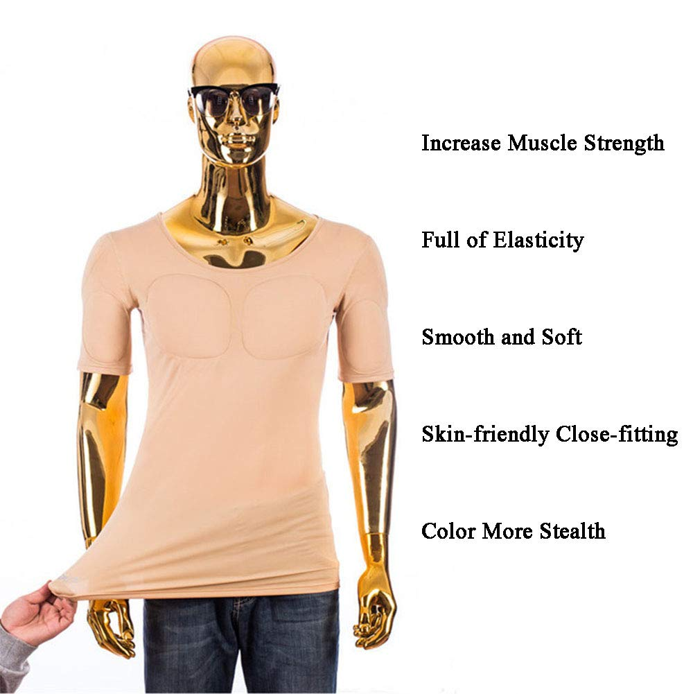 52dcf38d Amazon.com: GYH False Muscle Underwear Men T-Shirt Invisible Simulation  Pectoral Muscle Slim fit Fattening Muscle gain Thin Short Sleeve,XL: Sports  & ...