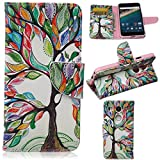 Nexus 5X Case,Gift_Source Brand [Tree and Leaf][Kickstand Feature][Slim Fit] Premium PU Leather Wallet Case Stand Flip Cover with Card Slots Leather Case for LG Google Nexus 5X (2015)