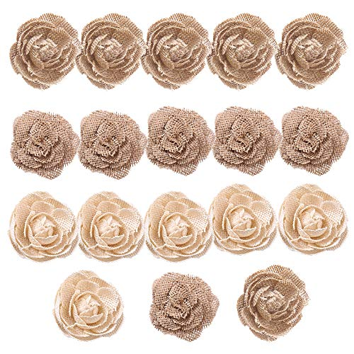 CCINEE Natural Burlap Flowers Assorted Handmade Burlap Rose for Wedding Decoration and Floral Crafts Making, Pack of 18 (Roses Assorted 18)