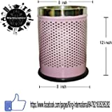 King International Stainless Steel Light Pink Open Perforated Dustbin 8 Ltr. ...