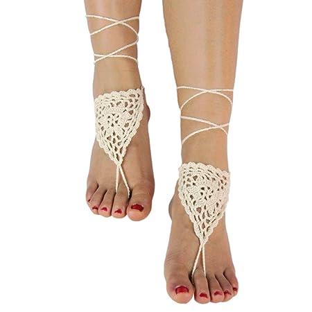 9e8f380f7c641 1 Pair of Women Ladies Bridal Bridesmaid Wedding Party Dancing Simple Style  Hollow Crochet Flower Barefoot Sandals Shoes Anklet Bracelet Summer Beach  ...