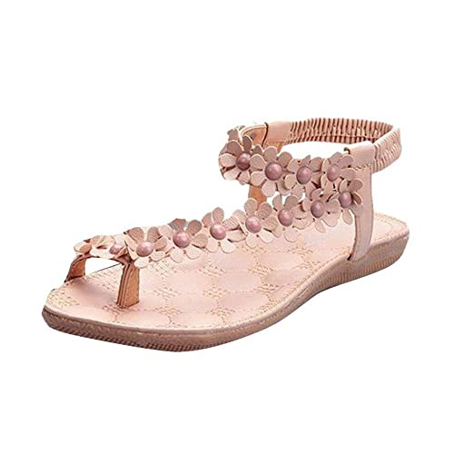 Sandalen Damen Schuhe Sommer Schnalle Casual Bohemian Herringbone Sandalen Schnalle Schuhe Strandschuhe Flache Mode Schuhe Leder Flach Boden Hausschuhe Bequeme Schuhe Abendschuhe LMMVP (40EU, Weiß)