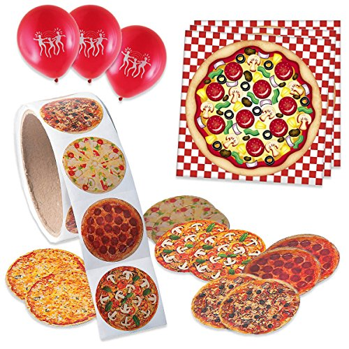 Pizza Party | Make A Pizza Sticker Set | Assorted Pizza Stickers | Balloons