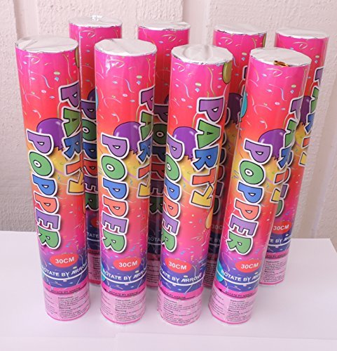 (8 Large (12 Inch) Compressed Air Activated Confetti Party Dispensers- 8 pieces)
