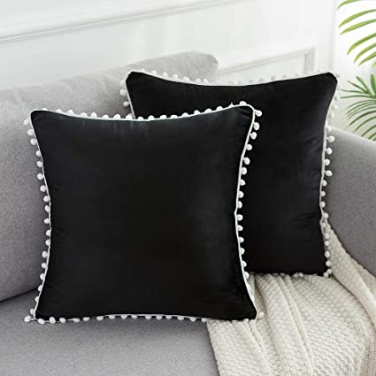 WLNUI Soft Velvet Black Pillow Covers Decorative Cute Pom Poms Throw Pillow Covers Square Cushion Case for Sofa Couch Home Decor 18x18 Inches