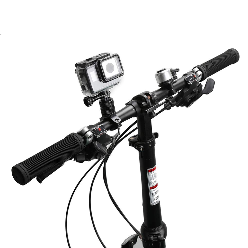 Car Electronics & Accessories Car Electronics Accessories EgalBest Aluminum Alloy Camera Mount Bike Front Bar Handlebar Seat Post Camera Holder Support 360 Degree Rotation Black 73.5 50mm