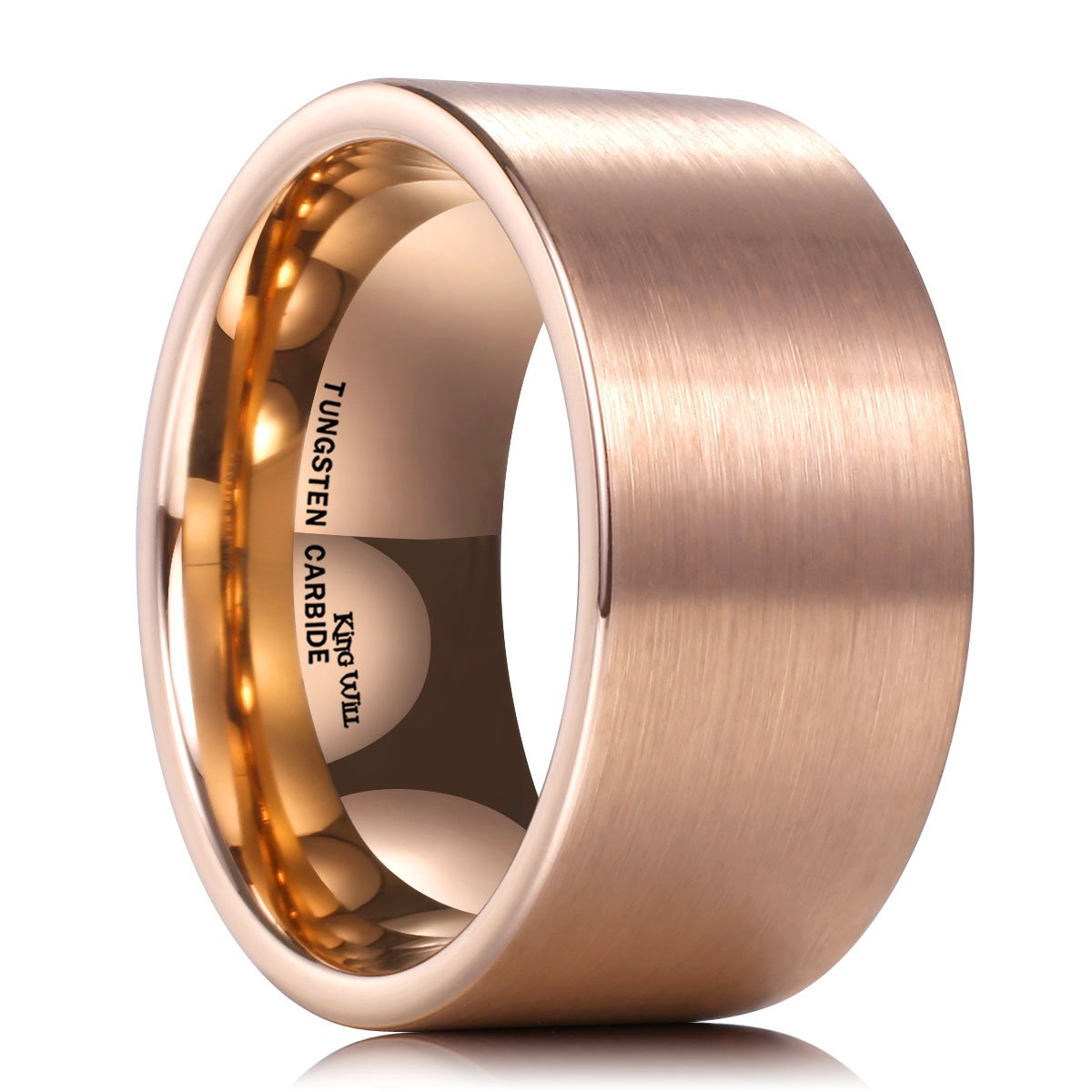 King Will Glory 12mm Rose Gold Tungsten Carbide Wedding Ring Brushed Surface Comfort Fit(7.5)