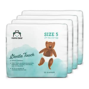 Amazon Brand - Mama Bear Gentle Touch Diapers Size 5, 132 Count (4 packs of 33)