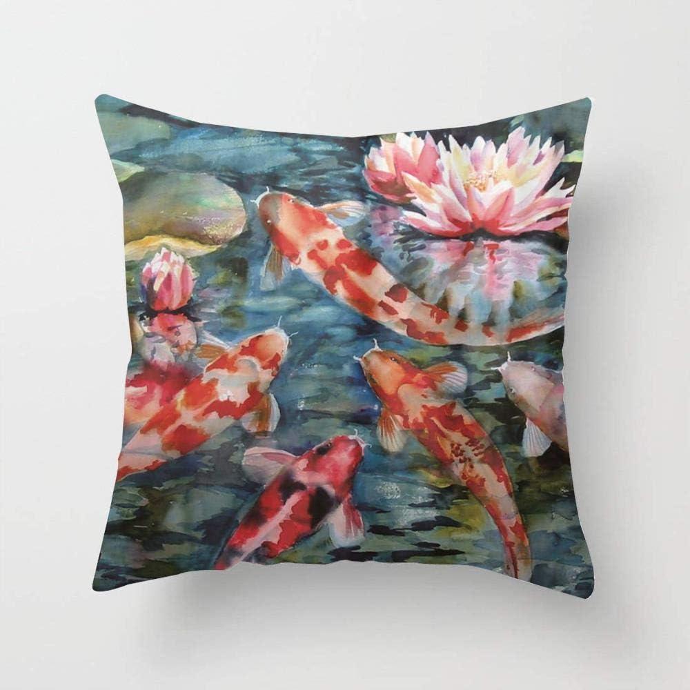N\A Funda de Almohada de Tiro de pez Koi japonés Funda de cojín de algodón Suave para sofá Dormitorio Coche